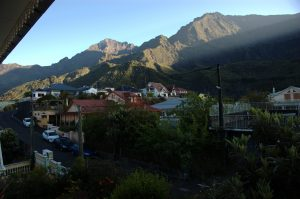 Cilaos :: the view from our balcony towards Piton des Neiges the next morning