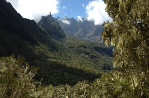 Cirque de Cilaos :: below Col du Taïbit :: steep slopes of les Trois Salazes