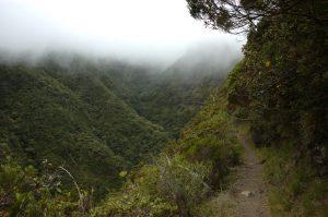 Cirque de Mafate :: Sentier Scout :: by Deux Fesses :: the uppermost valley of Bras Bémale :: clouds from Cirque de Salazie