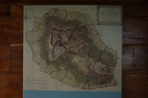 Forêt de Bélouve :: a museum by Gîte de Bélouve :: an 18th century map of La Réunion, that time l'Île de Bourbon